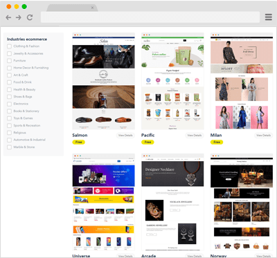 Select from various e-commerce themes